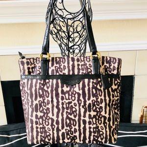 Coach F31901 Leopard Print Handbag Tote Bag